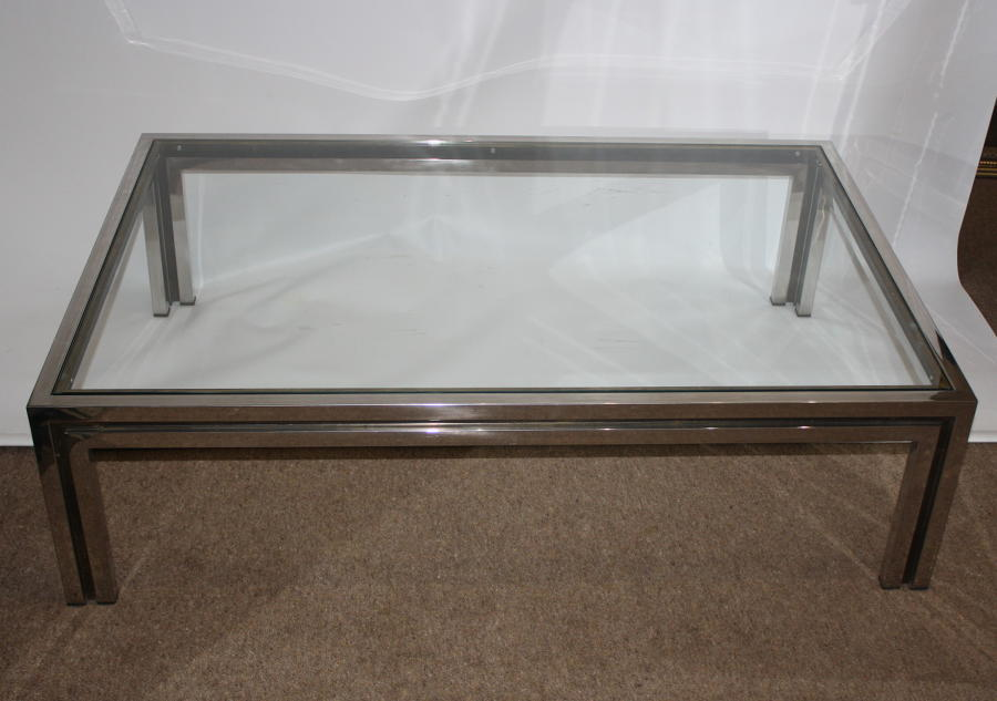 1970s Chrome and Brass Coffee Table