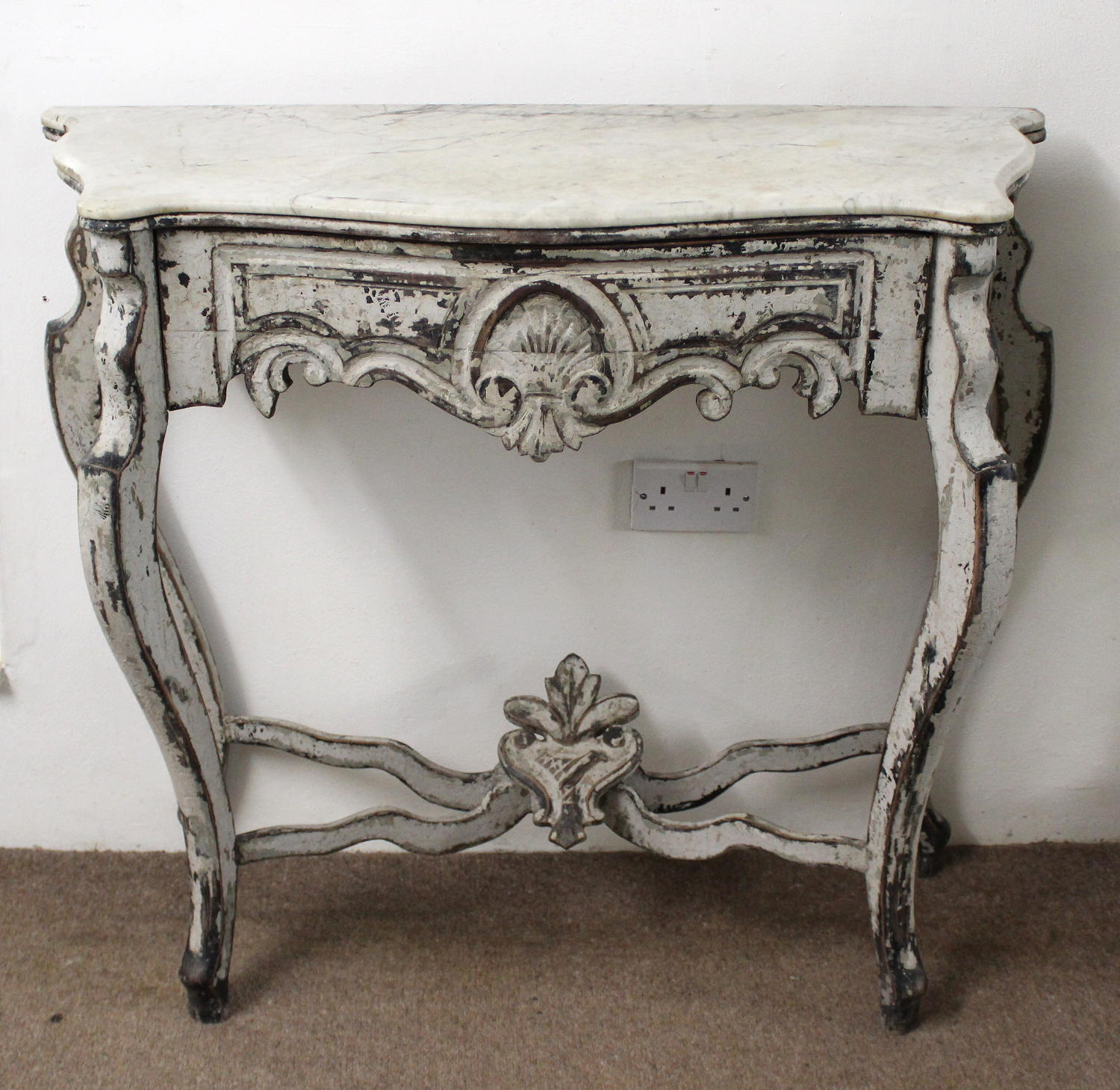Antique painted console with marble top and drawer