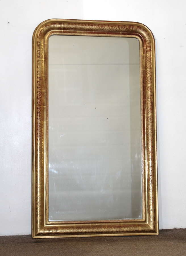 Narrow 19th century archtop mirror