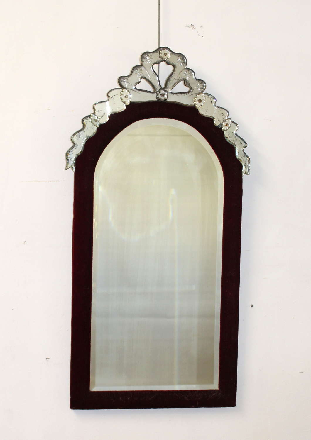 19th C mirror with red velvet frame and glass bow