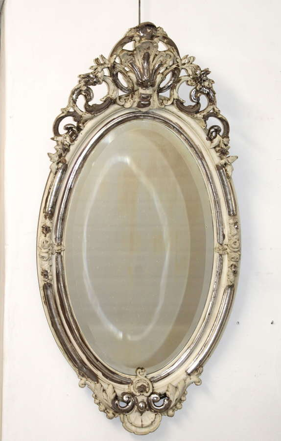 Vintage silver and cream oval mirror