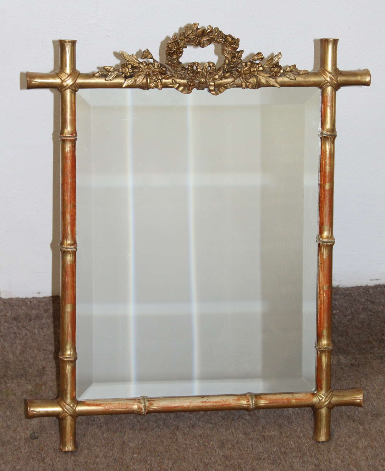 Antique table top mirror with bamboo frame