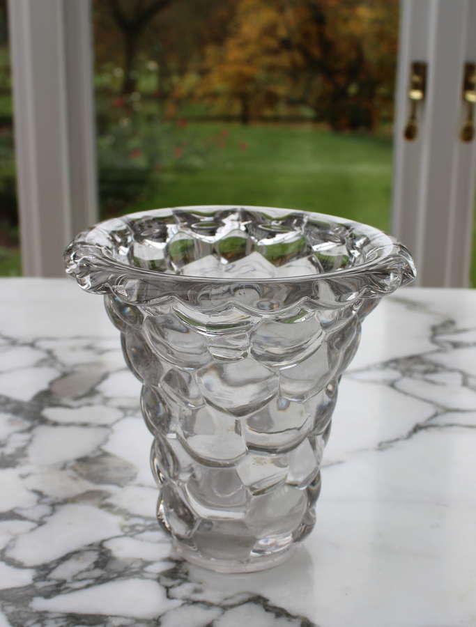Vintage French crystal art vase by Pierre d'Avsen