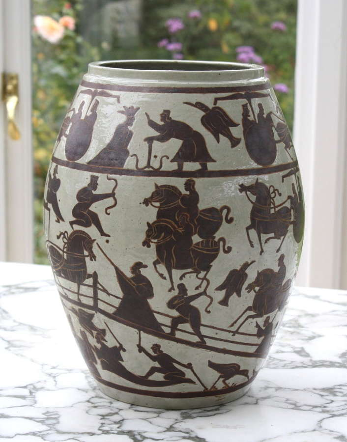 Vintage ceramic pot with war horses and eastern warriors