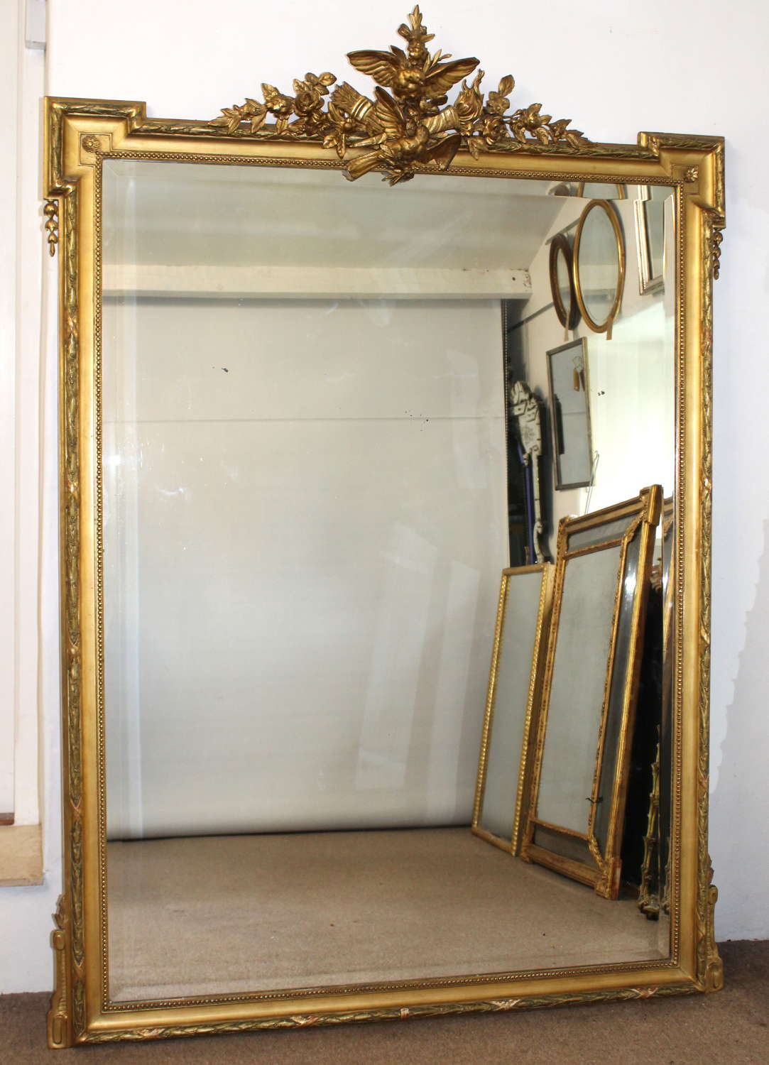 Magnificent, large, antique French mirror with birds