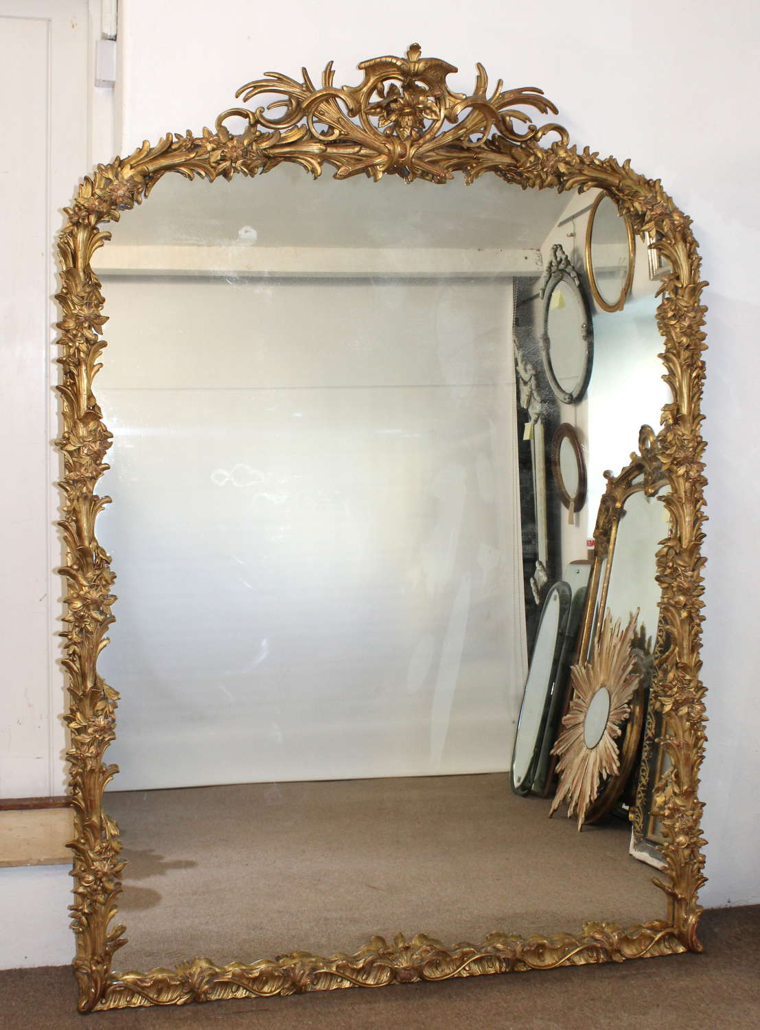 Large, spectacular, decorative antique French mirror