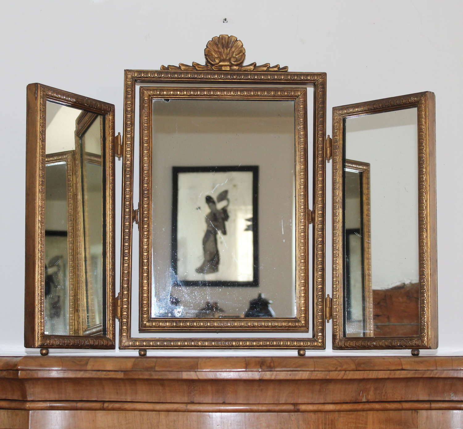 Vintage triple dressing table mirror with shell top