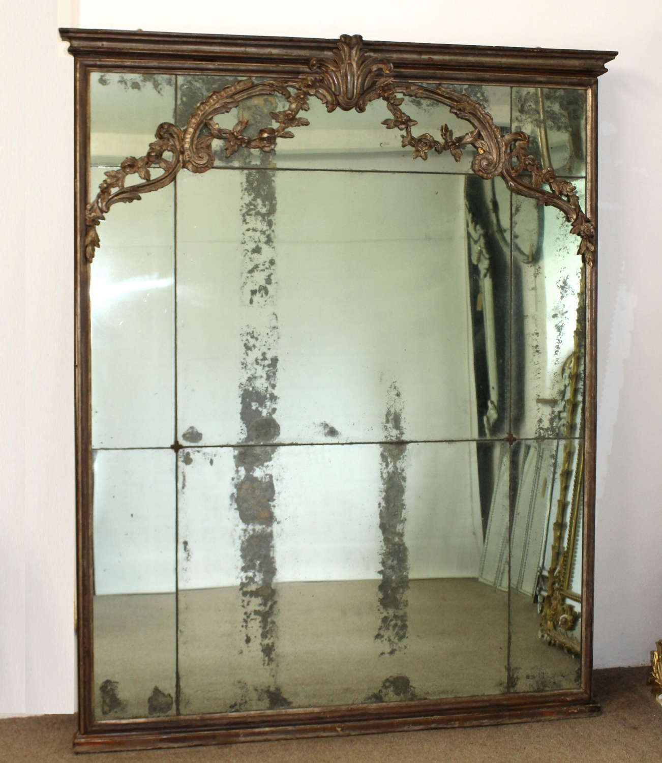 18th century Italian mirror with sectioned glass
